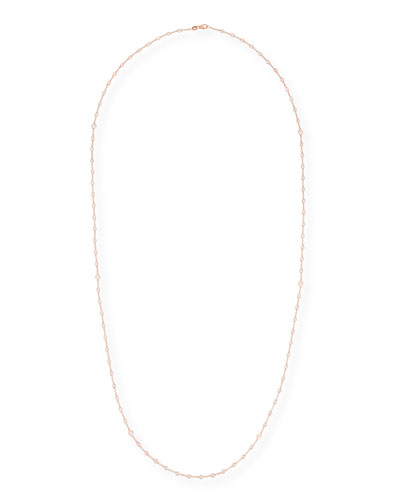 Diamond Bezel Necklace in 18K Rose Gold, 38