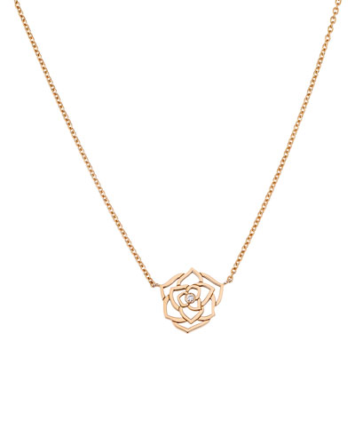 18K Red Gold Rose Necklace with Diamond