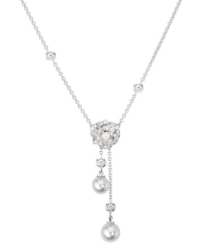 18K White Gold Rose Necklace with Diamonds & Pearls
