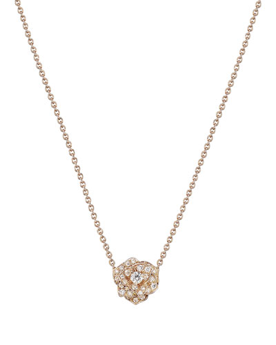 18K Red Gold & Diamond Rose Pendant Necklace