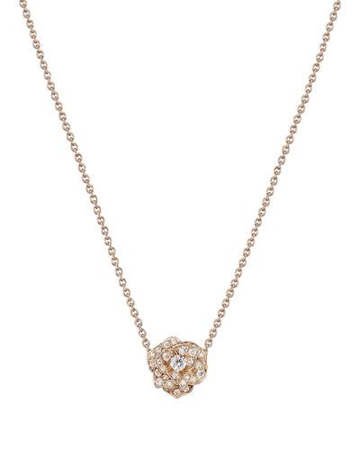 18K Red Gold & Diamond Rose Pendant Necklace