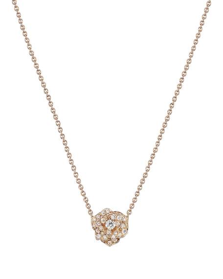 PIAGET 18K Red Gold & Diamond Rose Pendant Necklace