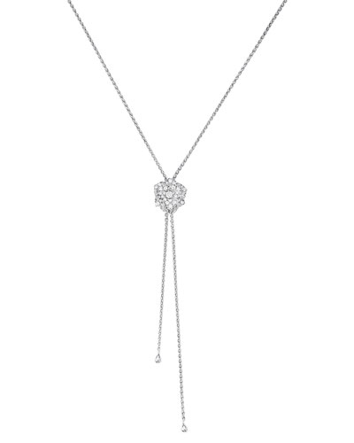 18K White Gold & Diamond Rose Lariat Necklace