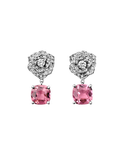Diamond Rose & Pink Tourmaline Drop Earrings
