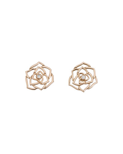 Rose Lace Earrings with Diamond in 18K Red Gold