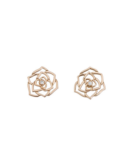 PIAGET Rose Lace Earrings with Diamond in 18K Red Gold