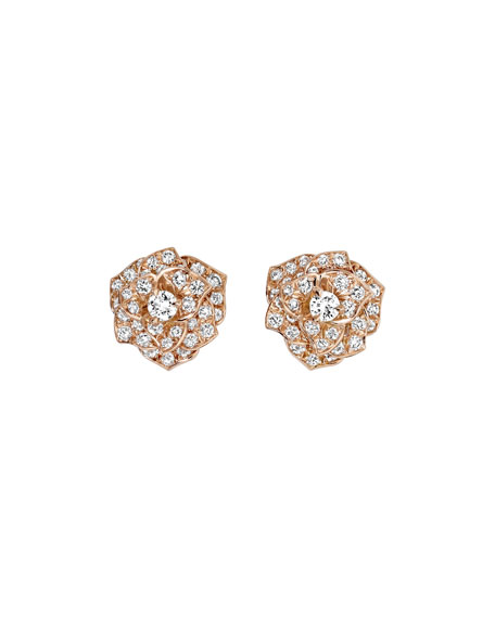 PIAGET Diamond Rose Earrings in 18K Red Gold
