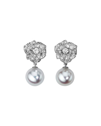 Quick Look Piaget 18k White Gold Diamond Rose Akoya Pearl Drop Earrings
