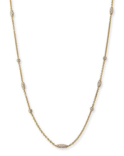 Pipette 18K Diamond Station Necklace, 36