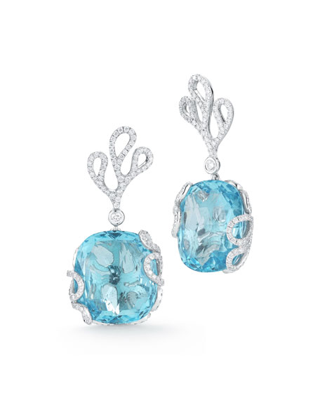 Miseno 18k White Gold Sea Leaf Diamond & Topaz Earrings