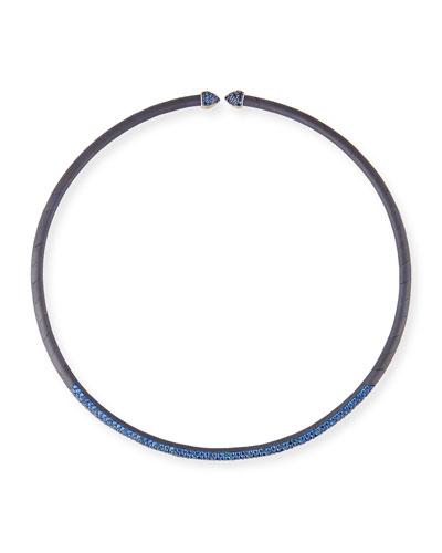 Blue Sapphire & Titanium Choker Necklace