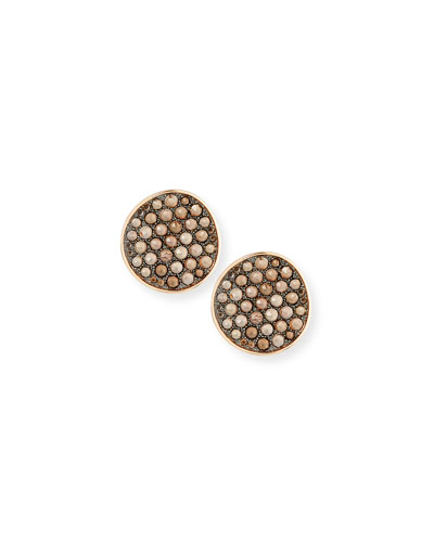 18K Rose Gold Smoky Quartz Button Earrings