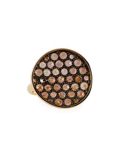 Smoky Quartz Disc Ring in 18K Yellow Gold, 6.75