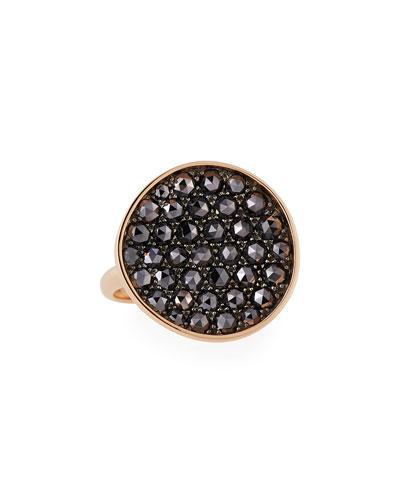 Black Diamond Disc Ring in 18K Rose Gold, 6.5