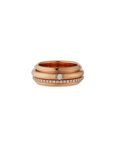 Possession Turning Band Ring with Diamonds in 18K Red Gold, Size 54