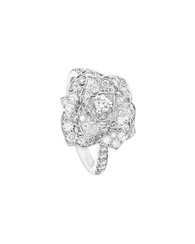 Pave Diamond Rose Ring in 18K White Gold, Size 6