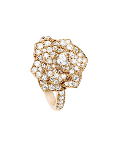 Rose Ring with Pavé Diamonds in 18K Red Gold, Size 7