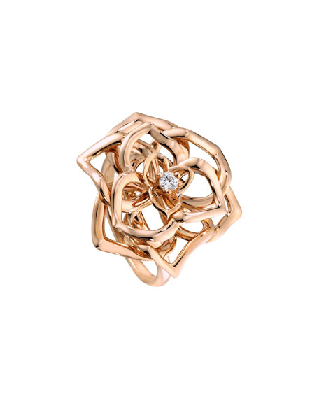 PIAGET Rose Ring with Diamond in 18K Red Gold, Size 7