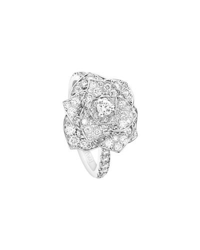 Rose Ring with Pavé Diamonds in 18K White Gold, Size 7