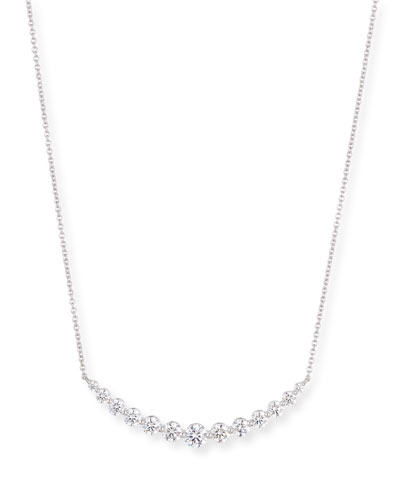 Graduated Diamond Smile Necklace in 18K White Gold
