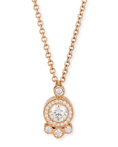 Diamond Cluster Pendant Necklace in 18K Rose Gold