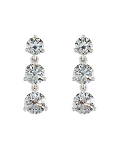 Diamond Three-Drop Earrings