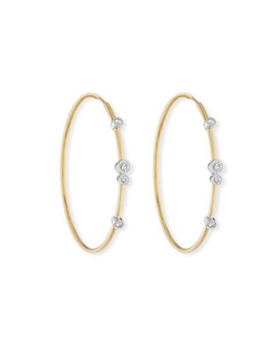 18K Gold Hoop Earrings with Diamond Bezels