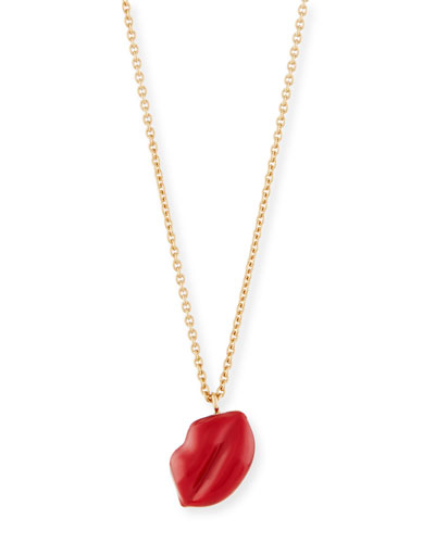 Red Enamel Lips Pendant Necklace in 18K Yellow Gold