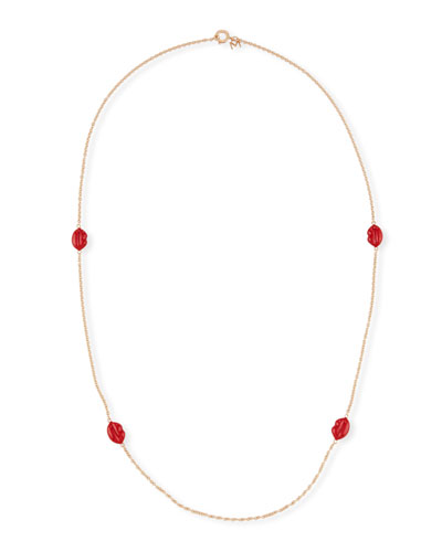 Red Enamel Lips Station Necklace, 35.4