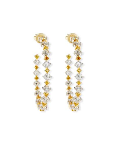 Yellow & White Diamond Hoop Earrings in 18K Gold