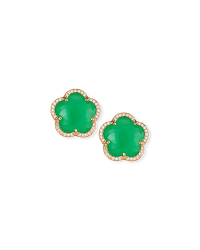 Bon Ton Chrysoprase Button Earrings with Diamonds in 18K Rose Gold