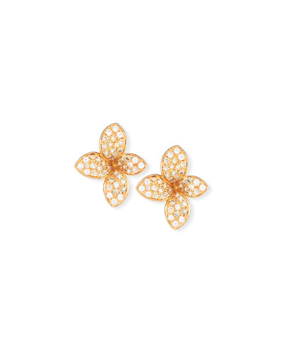 Giardini Segreti Petite Diamond Stud Earrings in 18 Karat Rose Gold