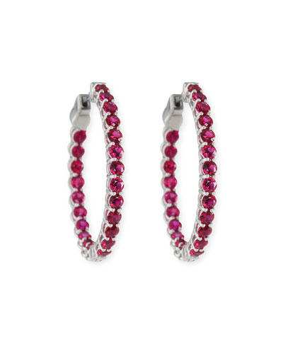 Small Ruby Hoop Earrings in 18K White Gold