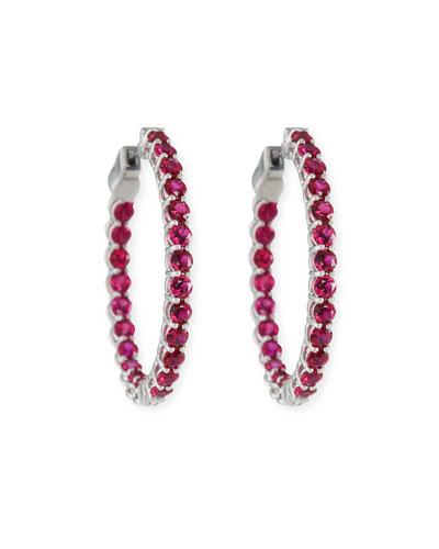 Small Ruby Hoop Earrings in 18K White Gold