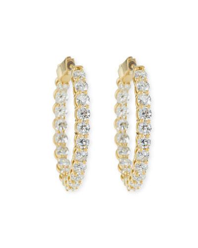 Large Diamond Hoop Earrings in 18K Yellow Gold