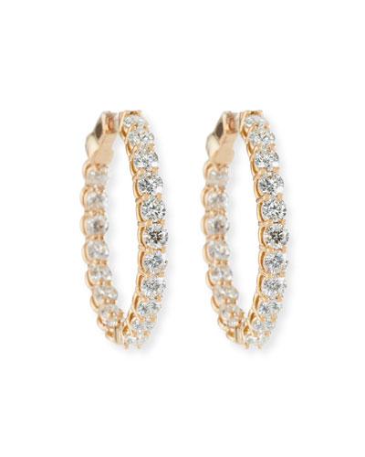 Large Diamond Hoop Earrings in 18K Rose Gold