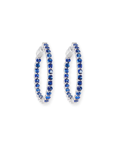 Small Blue Sapphire Hoop Earrings