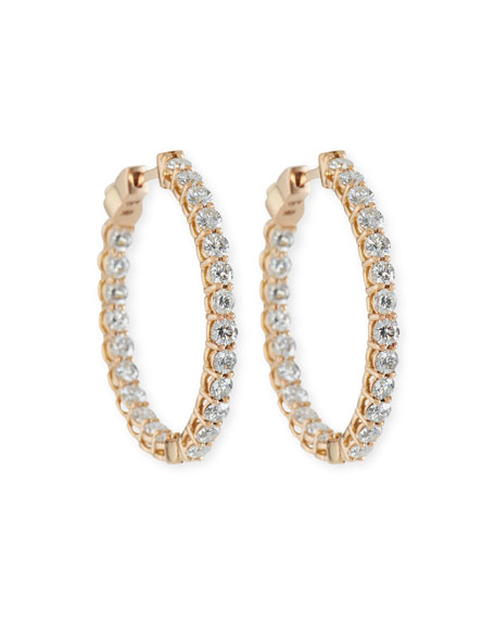 NM Diamond Collection Small Diamond Hoop Earrings in 18K Rose Gold