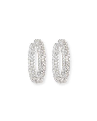 Quick Look American Jewelery Designs 25mm Pave Diamond Hoop Earrings