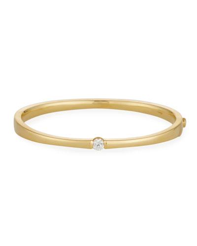 One-Diamond Bangle Bracelet in 18K Rose Gold