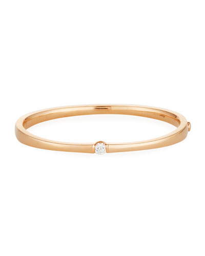 One-Diamond Bangle Bracelet in 18K Yellow Gold
