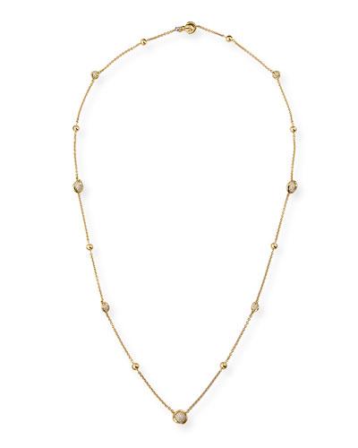 Cardan Pavé Diamond Station Necklace, 36