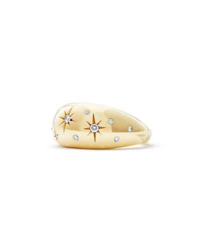 11mm Pure Form 18K Gold Diamond Star Ring, Size 6