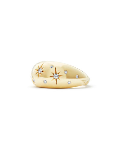 11mm Pure Form 18K Gold Diamond Star Ring, Size 5