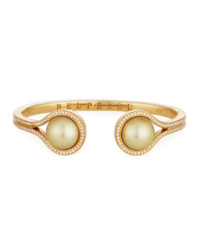 Golden South Sea Pearl & Diamond Open Cuff Bracelet in 18K Yellow Gold
