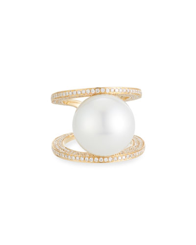 Belpearl 18k White South Sea Pearl Ring, Size 6.75