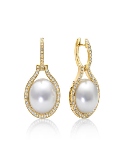 Kobe Grand Clip South Sea Pearl and Diamond Earrings, 15mm