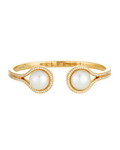 South Sea Pearl & Diamond Open Cuff Bracelet in 18K Gold