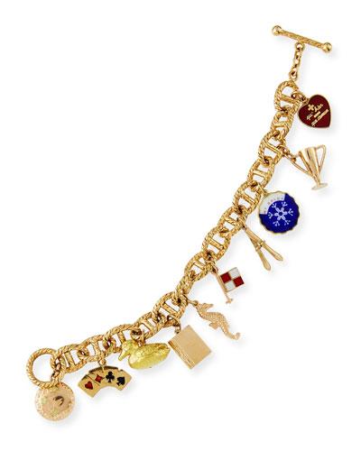 Vintage 18K Gold Rope Charm Bracelet