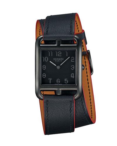 Cape Cod Matte Black Leather Wrap Watch